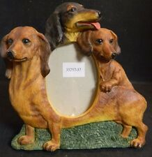 """Vintage Trio of Dachshunds Resin Picture Frame 8"""" x 7.5"""" Opening 3"""" x 4"""" Excell"""