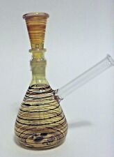 "Glass Water Pipe/Hand-made /6"" high with removable bowl and ground-glass fitting"