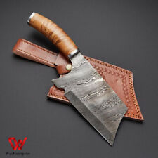 Custom handmade Damascus steel fancy chopper with leather sheath