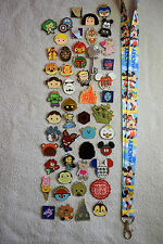 Disney pin trading Starter Set Lanyard + 50 pin lot NEW Mickey Stars BLUE