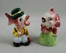 Vintage Anthropomorphic PY Fish Head People Salt And Pepper Shakers Japan