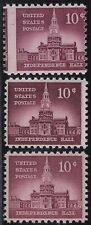 "1044d, 1044b &1044 - 10c Scarce Misperf Error / EFO ""Independence Hall"" Mint NH"