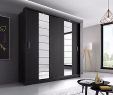 Brand New Modern Bedroom Sliding Mirror Wardrobe ARTI 14 Black Matt 220cm