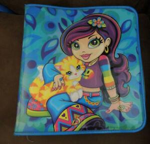 Lisa Frank Zip Up Binder~Girl Holding Cat~Kitten~Blue~Groovy~Hippy~School