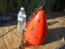 Vintage Ceramic Mid-Century Retro Orange Swag Hanging Lamp Light Fixture
