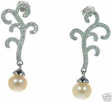 Solid 925 Sterling Silver Lab Simulated Diamond Pearl Drop Filigree Earring  '