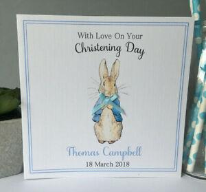 Personalised Handmade Boys Christening Card Naming Day Baptism Peter Rabbit