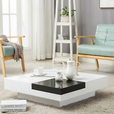 High Gloss Black & White Square Coffee Table with Removeable Tray Living Room