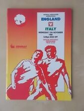 England v Italy November 15th 1989 - Friendly - Vgc Programme