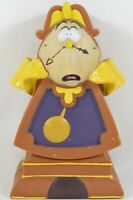 Vtg Disney Beauty and the Beast Cogsworth Clock Piggy Coin Bank Hard Plastic 5.5