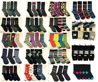 12 Pairs Mens Designer Socks, Cotton Rich Lycra Design Formal Sock Size UK 6-11