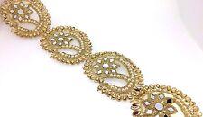 Fancy Cut Work Gold Bridal Lace Trim Ribbon Sewing Craft Saree Border 87 cm