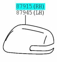 87945-52140-B0 Toyota Cover outer mirror New Genuine OEM Part lh 8794552140B0