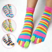 New Women Men Five Finger Toe Socks Striped Cotton Warm Soft Socks Casual Gift