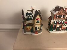 Vintage Christmas Village Set Church Grocery Toy Shop And Inn