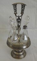 Antique Rogers & Smith Co. Quadruple Plate Castor Cruet Set Crystal Glass Nevada