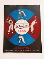 Authentic Rare Vintage 1963 Los Angeles Dodgers  Baseball Program Score Card