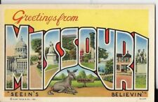 greetings from missouri,seeins believin postcard 1940s era
