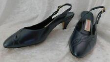 "Vtg Womens Compliments Navy Blue Slingback Size 6 1/2 C Narrow Shoes 2 1/2"" Heel"