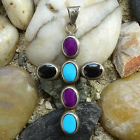 Vintage Taxco Mexico 925 Sterling Multistone Cross Pendant Sugilite Turquoise
