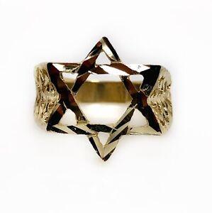 Mens 10K Solid Yellow Gold Diamond Cut Jewish Star of David Ring 4.8 Grams
