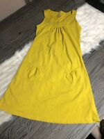 Athleta Dress Organic Cotton Spandex Sz S Mustard Yellow Sleeveless Front Pocket