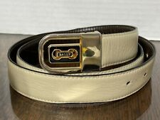 VINTAGE Bally Men's Bone Beige  Leather Belt Size 36 Italy Slide Buckle