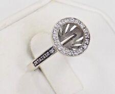 14k Solid White Gold Diamond Semi-Mount Halo Ring Setting Pierced Base ~ 6 3/4