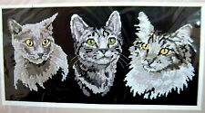 Dimensions Dramatic Cat Trio Cross Stitch Kit Black Cloth No Count Gray Kitty