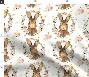 Bunny White Baby Girl Woodland Roses Floral Spoonflower Fabric by the Yard