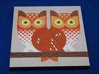 SP Owl Art Print Wooden Block Painting 356-3 2014 Barn Pair Wall Hanging Orange