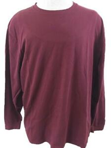 LL Bean mens t shirts size L Traditional Fit red maroon long sleeve cotton