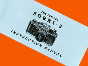 ENGLISH MANUAL for ZORKI-3 camera Russian Leica-III copy INSTRUCTION BOOKLET