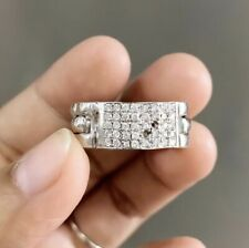 14K Huge Diamond Ring in Solid White Gold