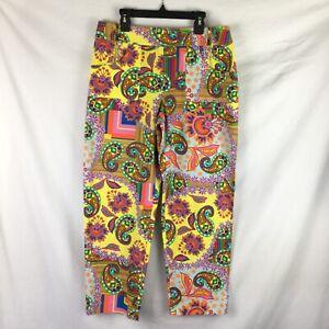 David Meister Capri Pants Womens 6 Multicolor Yellow Paisley Flat Front Y463