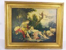 François BOUCHER La bergère endormie reproduction tableau huile cadre bois doré