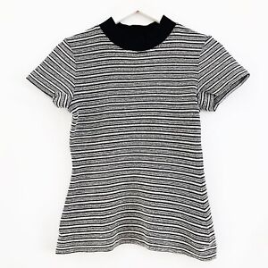 Proenza Schouler Knit Ribbed Top With Elastic Collar Size 6