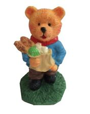 COLLECTABLE TEDDY BEAR ORNAMENT HOLDING A BAG OF GROCERIES  - FIGURINE - FIGURE