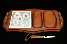 Large Retro / Vintage Teak Cheese Board, Floral Tile & Knife 1960s / 70's - GVC
