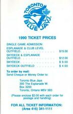 1990 TORONTO BLUE JAYS OFFICIAL HOME AT SKYDOME SCHEDULE,  ISSUED BY THE JAYS