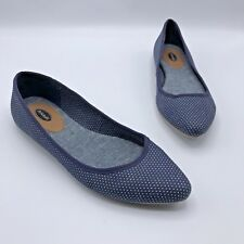 Dr Scholls Really Women Blue Fabric White Polka Dots Flat Shoe SZ 7.5 Pre Owned
