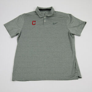 Cleveland Indians Nike Dri-Fit Polo Men's Light Gray/Green Used