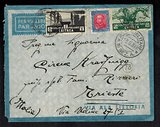 1936 Eritrea Airmail Cover to Army Post to Trieste Italy