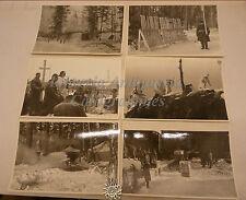 6 fotografie b/n di GUERRA in montagna RUSSIA? Fucili Finti Militari nella Neve