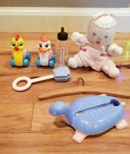 Vtg Lot Baby Heinz Rattle Plastic Turtle Thermometer Toy Duck Chick Glass Bottle