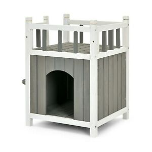 Wooden Cat House 2 Story w/ Balcony Jumping Stairs & Enclosures 45 x 45 x 65cm