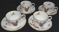 Coalport England Khotar Set of 4 Cups & Saucers -Bone China