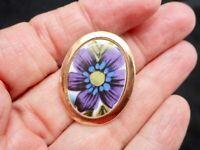 Vintage 1960's Purple & Green Flower Ceramic Brooch/Pin