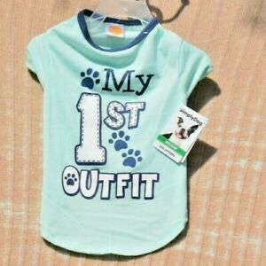 """SimplyDog - Blue """"My First Outfit"""" T-Shirt/Shirt (Pet, Dog) Size Small"""