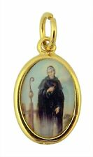 Gold Toned Base with Epoxy Image Catholic Saint Peregrine Medal Pendant, 1 Inch